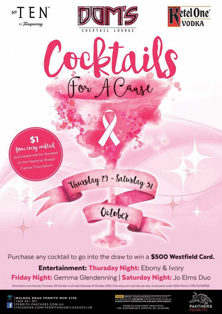 Cocktails For A Cause Promotion at Dom's Cocktail Lounge