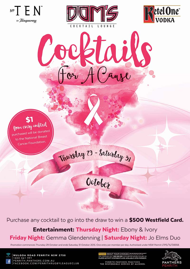 Cocktails For A Cause Promotion at Dom
