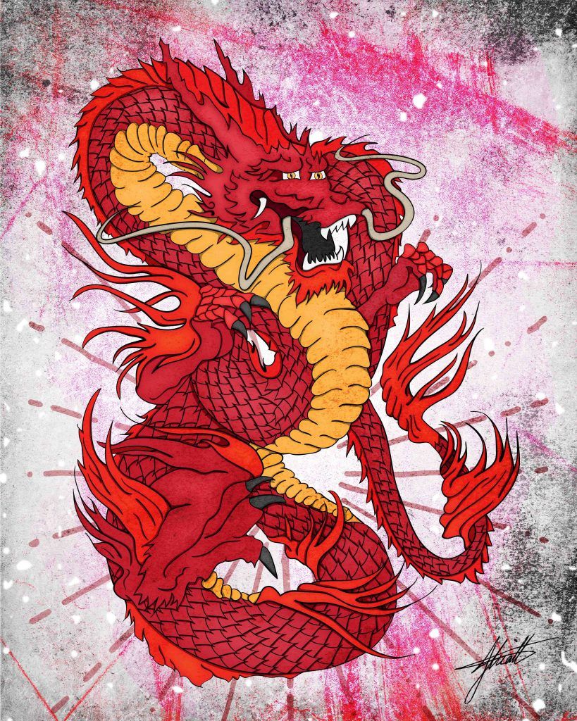 JHK Design Original Red Dragon Illustration