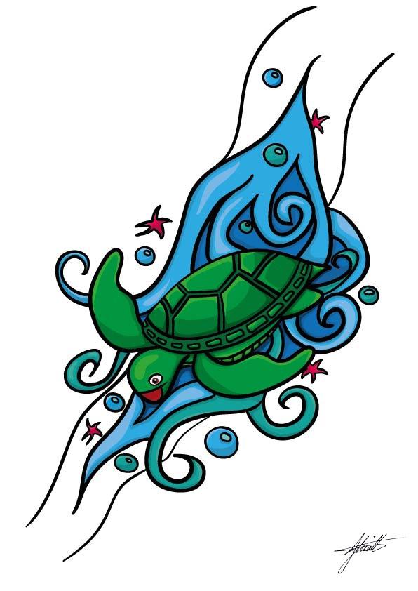 JHK Design Original Happy Turtle Illustration