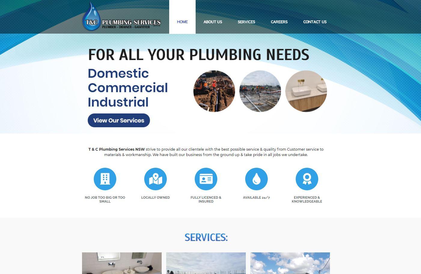 T & C Plumbing Services Website Design